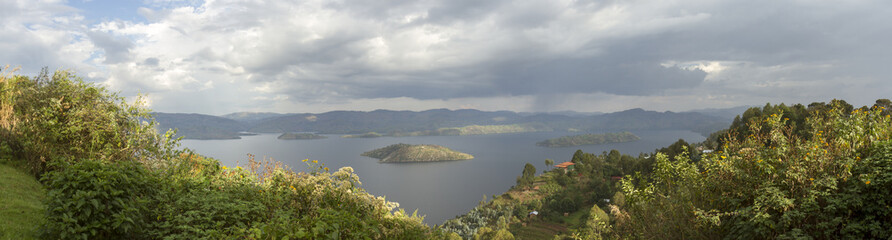 Panorama of crater lake, Virunga, Rwanda