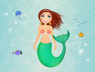 siren in the ocean