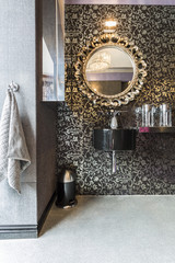 Bathroom with pattern wallpaper, sparkle floor