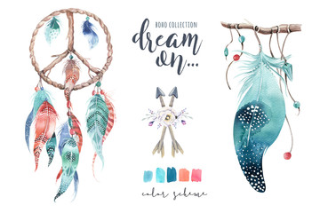 Isolated Watercolor decoration bohemian dreamcatcher. Boho feathers. Native dream chic design. Mystery etnic tribal print. Tribal american culture.