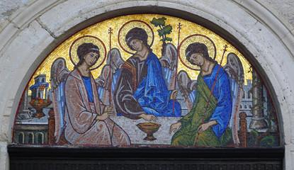 Mosaic icon of the Holy Trinity