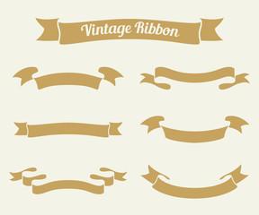 vintage ribbon set. Vector illustration.