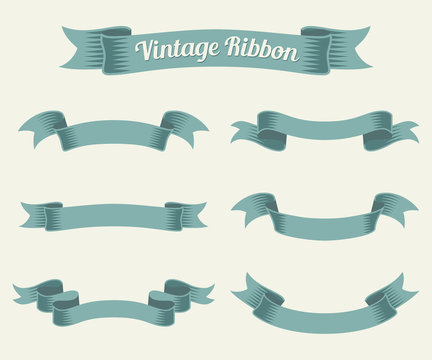 vintage ribbon set. Vector illustration.