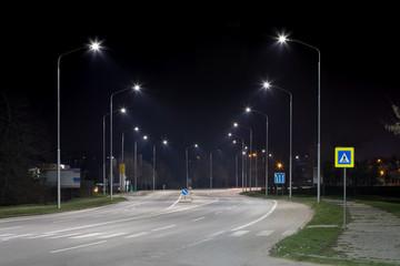 Night urban arterial road, Nitra, Slovakia Fotomurales