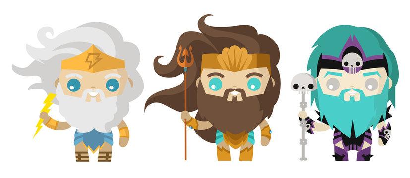 hades poseidon and zeus cute tiny gods