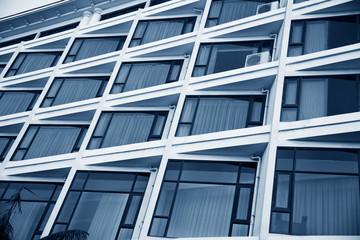 closeup image of hotel windows