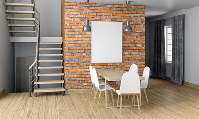 Mock up wall in interior with stairs and dining area. living room hipster style.