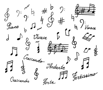 Hand drawn musical notes elements with text