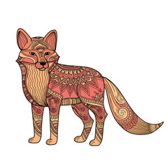 stylized fox in doodles. Pattern style zentangle. Colored hand drawn tangled illustration