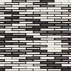 Vector Seamless Black And White Irregular Dash Rectangles. Abstract Geometric Background Design