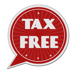 Tax free red speech bubble label or sign