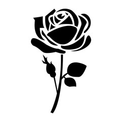 Flat black rose icon