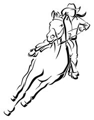 Stylized line illustration of a cowgirl on a horse racing.