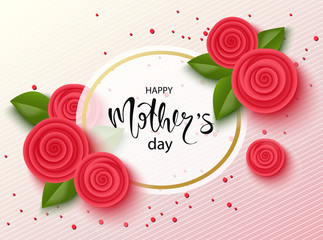 Happy mothers day background with beautiful flowers. Greeting card with hand drawn lettering. Vector illustration template, banners. Wallpaper, flyers, invitation, posters, brochure.