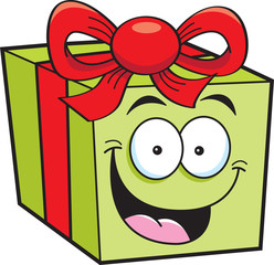 Cartoon illustration of a smiling gift box.
