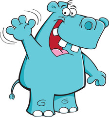 Cartoon illustration of a hippo waving.