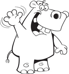 Black and white illustration of a hippo waving.