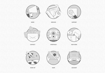 Monotone Illustration-Style Design Icon Set