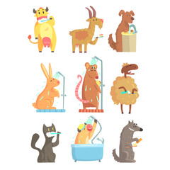 Funny animals taking a shower and washing, set for label design. Hygiene and care cartoon detailed Illustrations