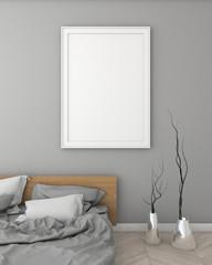 mock up poster frame in bedroom modern style interior background. 3d viz