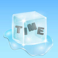 Frozen time in an ice cube. Black shiny text in 3d style. Continuation of the winter season