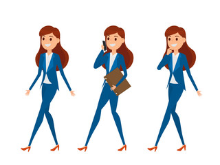Business woman characters. Woman in elegant office clothes with a variety poses, talking on phone, walking, and thinking.