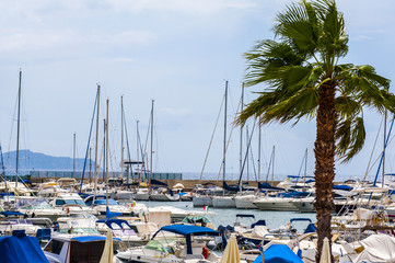 yacht boat and Fishing boats in harbor on sardegna island in italy