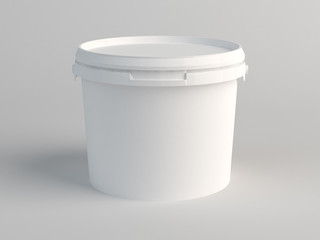 White Plastic Bucket. 3D Render Wall mural