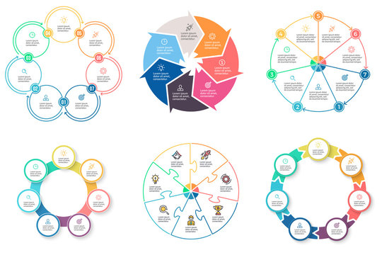 Business infographics. Diagrams with 7 steps, options. Vector pie charts.