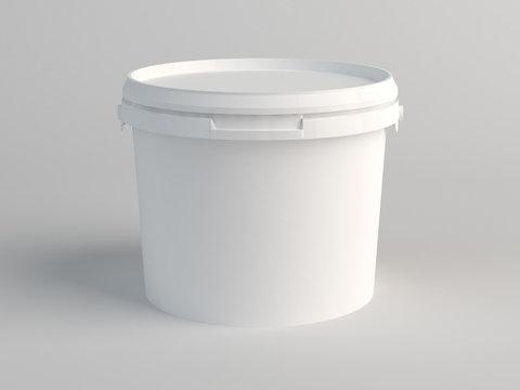 White Plastic Bucket. 3D Render
