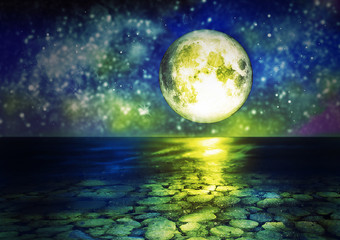 Sea at Night with Starry Sky and Full Moon