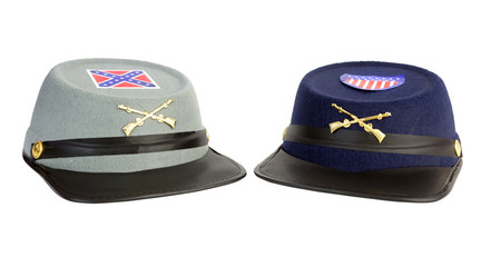 Toy costume confederate and union American Civil War hats. Isolated.