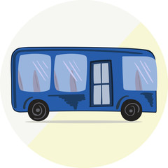 Cute blue bus icon