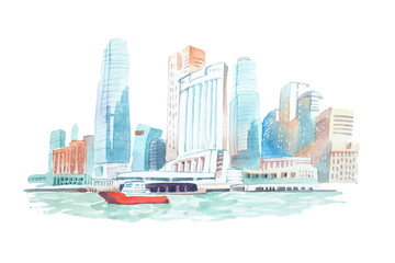 City skyline on the river watercolor illustration.