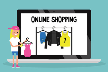 Online shopping concept. Conceptual illustration / flat editable vector, clip art