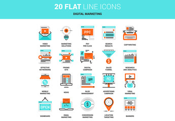 20 Line Art Marketing and Advertising Icons 2