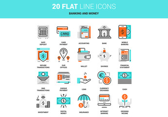 20 Line Art Banking and Money Icons