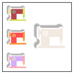 Collection of Vector illustration in paper sticker style retro sewing machine