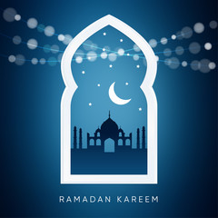 Arabic window with, silhouette of the mosque, moon. Ramadan card.