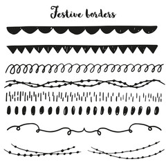 Collection of handdrawn festive borders. Perfect for stylish design