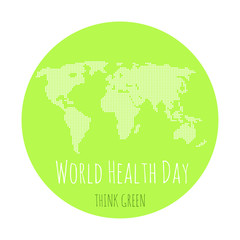 World health day concept with green map . Advertisement of  healty lifestyle.