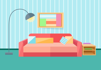 Interior in a flat style. Sofa, lamp. Vector illustration in a flat style.
