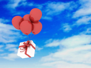 Present box and balloons in the sky. Celebration, New Year and birthday concept. 3d render