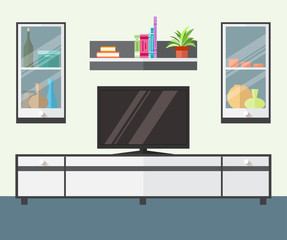 Design TV zone in a flat style. Interior living room with furniture, tv and shelf. Vector illustration