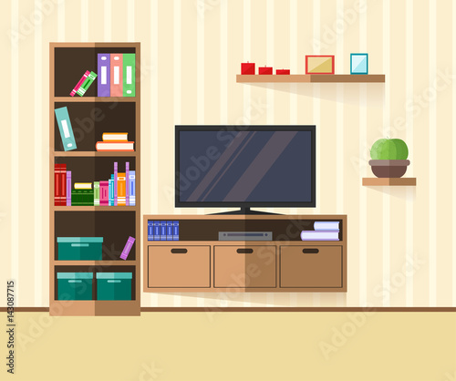 Design tv zone in a flat style interior living room with for Living room zones