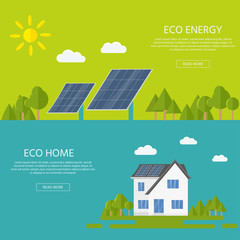 Clean modern house with solar panels. Eco friendly alternative energy. Ecosystem infographics for web design.