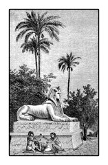Vintage engraving of life costumes in Egypt antiquity, kids playing morra near a Sphynx