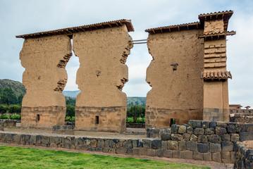 Ruin of the Temple of Wiraqocha Raqchi. Temple of Viraqocha at Chacha - Peru, South America