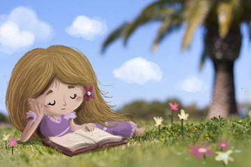 niña tumbada en el campo leyendo un libro