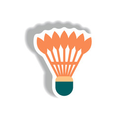 stylish icon in paper sticker style shuttlecock badminton